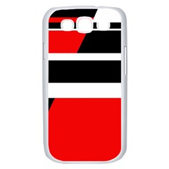 Red, white and black abstraction Samsung Galaxy S III Case (White)