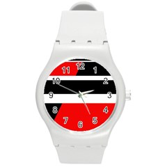 Red, white and black abstraction Round Plastic Sport Watch (M)