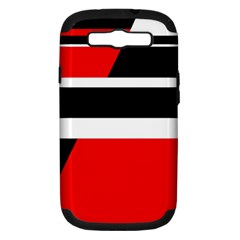 Red, white and black abstraction Samsung Galaxy S III Hardshell Case (PC+Silicone)