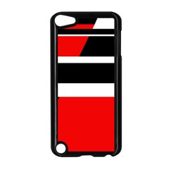 Red, white and black abstraction Apple iPod Touch 5 Case (Black)