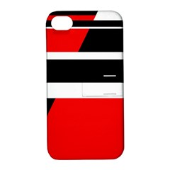 Red, white and black abstraction Apple iPhone 4/4S Hardshell Case with Stand