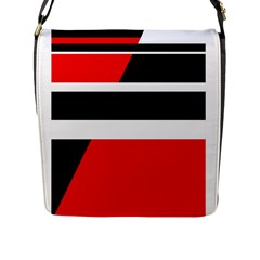 Red, white and black abstraction Flap Messenger Bag (L)