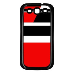 Red, white and black abstraction Samsung Galaxy S3 Back Case (Black)