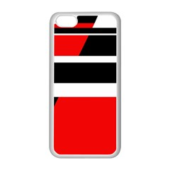 Red, white and black abstraction Apple iPhone 5C Seamless Case (White)