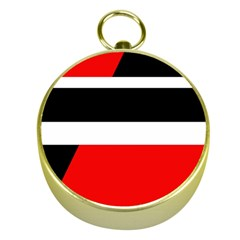Red, white and black abstraction Gold Compasses
