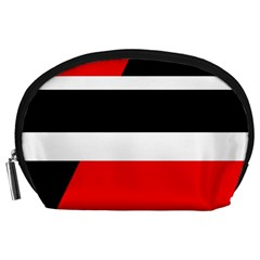 Red, white and black abstraction Accessory Pouches (Large)