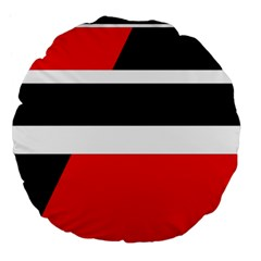 Red, white and black abstraction Large 18  Premium Flano Round Cushions