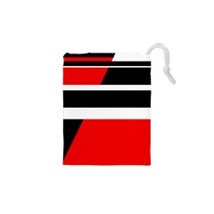 Red, white and black abstraction Drawstring Pouches (XS)