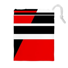 Red, White And Black Abstraction Drawstring Pouches (extra Large)