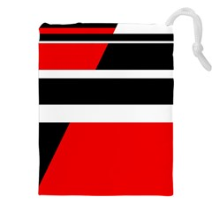 Red, white and black abstraction Drawstring Pouches (XXL)