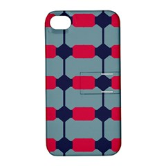 Red blue shapes pattern                                                                                     			Apple iPhone 4/4S Hardshell Case with Stand