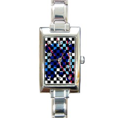 Blue abstraction Rectangle Italian Charm Watch