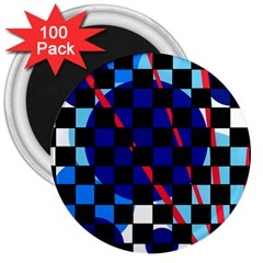 Blue abstraction 3  Magnets (100 pack)