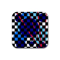 Blue abstraction Rubber Coaster (Square)