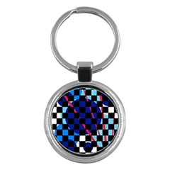 Blue abstraction Key Chains (Round)
