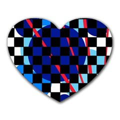 Blue abstraction Heart Mousepads