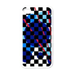 Blue abstraction Apple iPhone 4 Case (White)