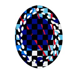 Blue abstraction Oval Filigree Ornament (2-Side)