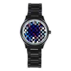 Blue abstraction Stainless Steel Round Watch