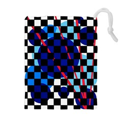 Blue abstraction Drawstring Pouches (Extra Large)
