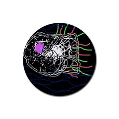 Neon fish Rubber Round Coaster (4 pack)