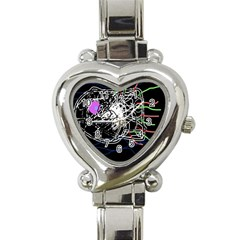 Neon fish Heart Italian Charm Watch