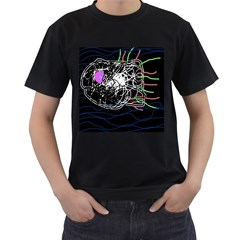 Neon fish Men s T-Shirt (Black) (Two Sided)