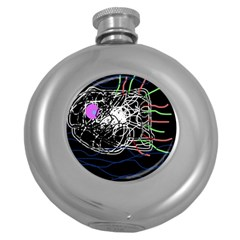 Neon fish Round Hip Flask (5 oz)