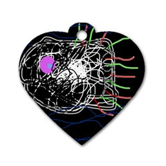 Neon fish Dog Tag Heart (One Side)