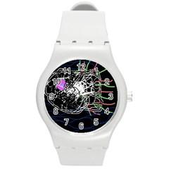 Neon fish Round Plastic Sport Watch (M)
