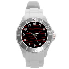 Red and black Round Plastic Sport Watch (L)