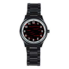 Red and black Stainless Steel Round Watch