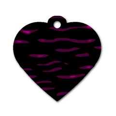 Purple and black Dog Tag Heart (One Side)