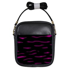 Purple and black Girls Sling Bags