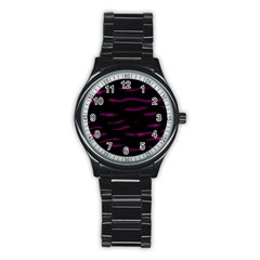 Purple and black Stainless Steel Round Watch