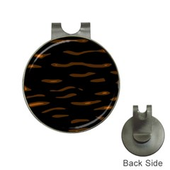 orange and black Hat Clips with Golf Markers