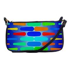 Colorful Shapes On A Blue Background                                                                                       shoulder Clutch Bag