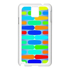 Colorful shapes on a blue background                                                                                      Samsung Galaxy Note 3 N9005 Case (White)
