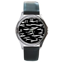 Black and white Round Metal Watch