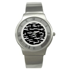 Black and white Stainless Steel Watch