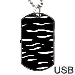 Black and white Dog Tag USB Flash (One Side)