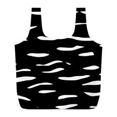 Black and white Full Print Recycle Bags (L)