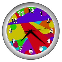 Colorful abstract design Wall Clocks (Silver)
