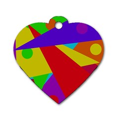 Colorful abstract design Dog Tag Heart (One Side)