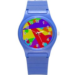 Colorful abstract design Round Plastic Sport Watch (S)