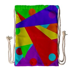 Colorful abstract design Drawstring Bag (Large)