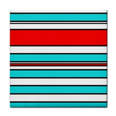 Blue, red, and white lines Tile Coasters