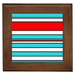 Blue, red, and white lines Framed Tiles