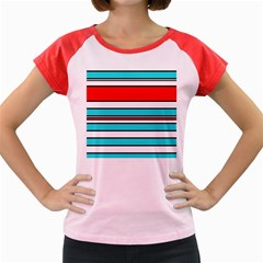Blue, red, and white lines Women s Cap Sleeve T-Shirt