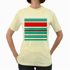Blue, red, and white lines Women s Yellow T-Shirt